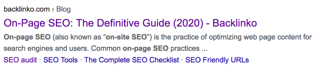 On Page SEO in SERP